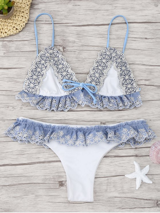 chic Ruffle Applique Thong Bikini Set - WHITE L