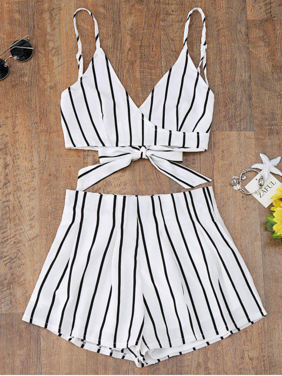 outfit Striped Cami Wrap Top with Shorts - WHITE L