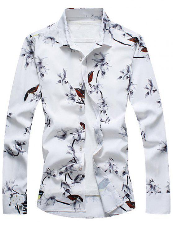 قميص الطيور، أيضا، أزهر، طبع ريترو، - أبيض XL