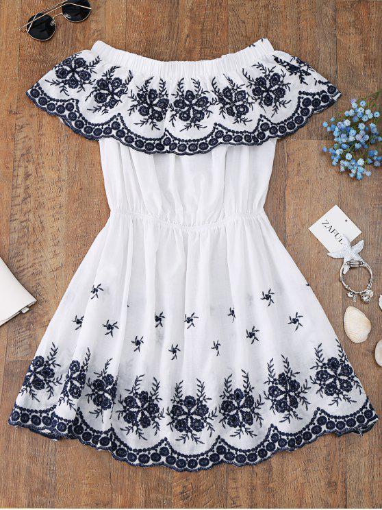 Fuori dalla copertura ricamata della spalla in su il vestito - Bianco L