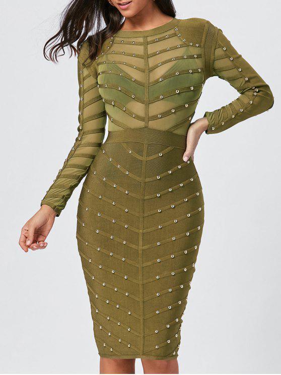 فستان الضمادة طويلة الأكمام - أخضر M