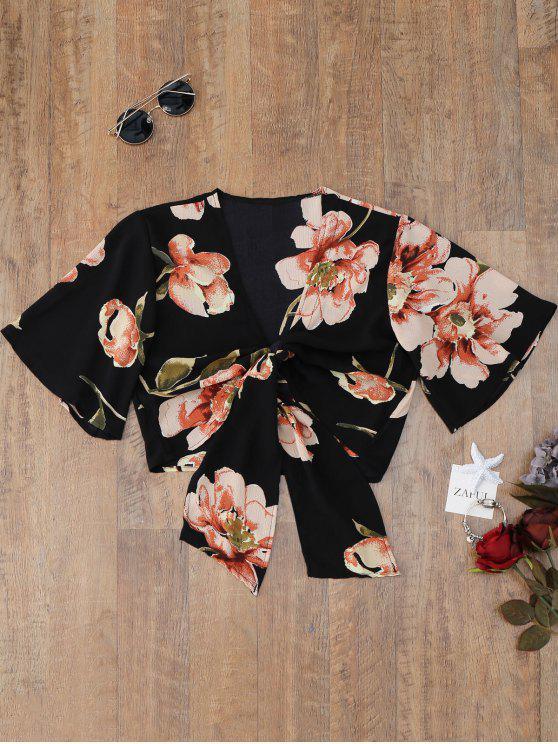 بلوزة بطبعة أزهار مزينة بعقدة - أسود XL