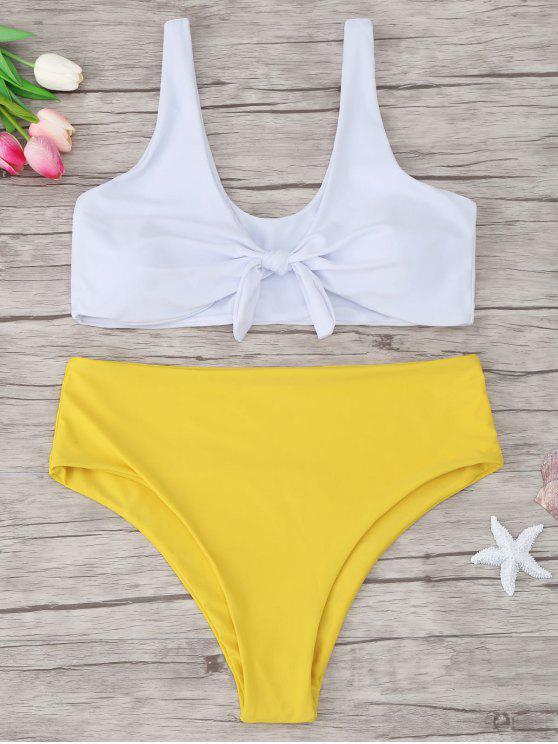best Two Tone Plus Size Tied Bikini - YELLOW XL