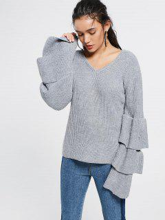 V Neck Tiered Flare Sleeve Sweater - Gray