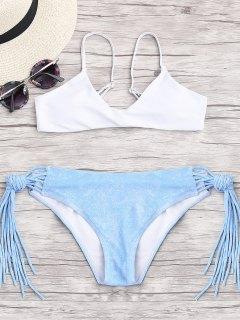 Cami Multi String Riemchen Färbung Bikini - Weiß S