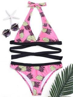 Bikini à Bandeau Rembourré Imprimé D'ananas  - Rose  S