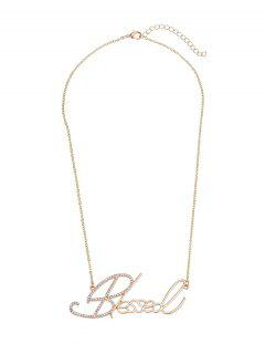 Rhinestone Nameplate Necklace - Golden