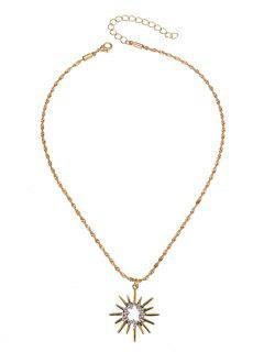 Hollow Barbed Sun Pendant Necklace - Golden