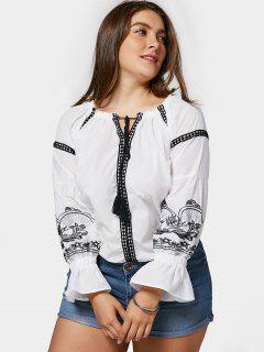 Plus Size Embroidered Top - White 4xl