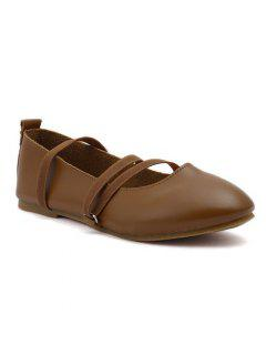 Elastic Band Faux Leather Flat Shoes - Brown 39