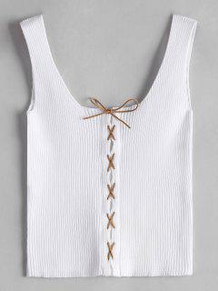 Knitting U Neck Lace Up Tank Top - White