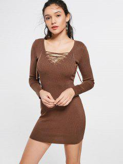 Lace Up Long Sleeve Knitted Dress - Coffee S