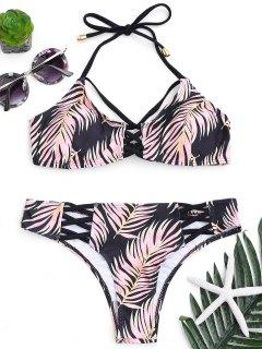 Leaf Print Strappy Bikini Set - Black L