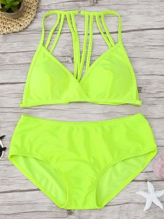 Padded Strappy Bikini Set - Fluorescent Yellow L