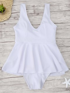 Ruffle Ribbed One Piece Swimwear - White L