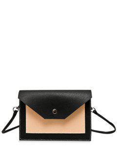 Flapped Color Block Cross Body Bag - Black