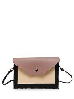 Flapped Color Block Cross Body Bag - Russet-red