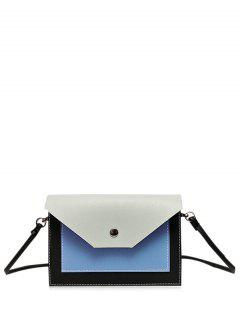 Flapped Color Block Cross Body Bag - Gray
