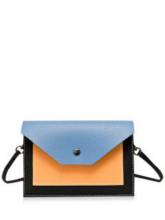 Flapped Color Block Cross Body Bag - Blue