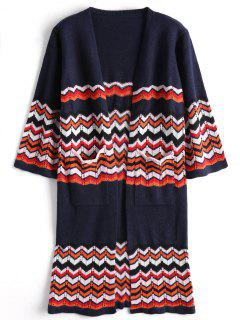 Sheer Open Front Zig Zag Cardigan - Purplish Blue
