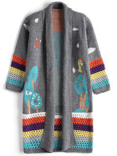 Contrasting Jacquard Open Front Cardigan - Gray