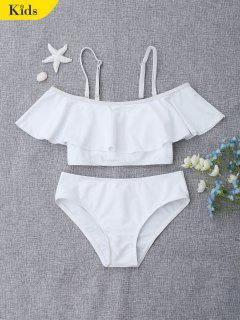 Layered Off The Shoulder Girls Bikini Set - White 7t