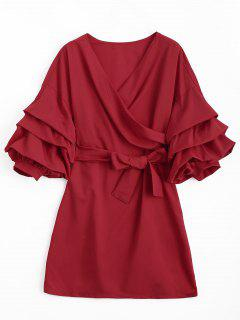 Puff Sleeve Belted Crossed Front Mini Dress - Red L