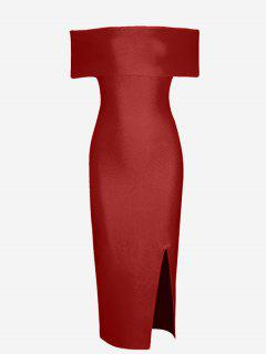 Off The Shoulder Side Slit Fitted Dress - Red S