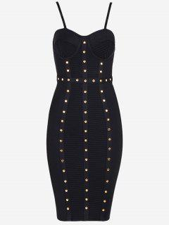 Embellished Cami Bandage Dress - Black S