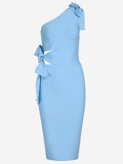 One Shoulder Cut Out Fitted Dress - Sky Blue M