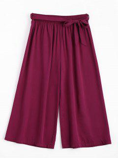 Capri High Waisted Belted Wide Leg Pants - Purplish Red