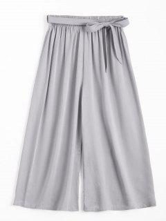 Capri High Waisted Belted Wide Leg Pants - Gray