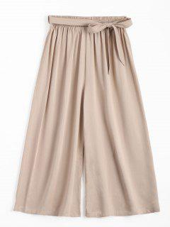 Capri High Waisted Belted Wide Leg Pants - Light Khaki
