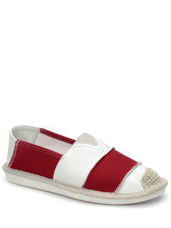 Elastic Band Striped Canvas Flat Shoes - Red 39