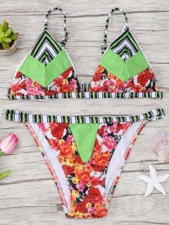 Stripe Floral Bikini Set - S