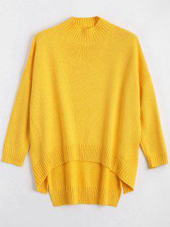 High Low Oversized High Neck Sweater - Yellow M