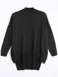High Low Oversized High Neck Sweater - Black S