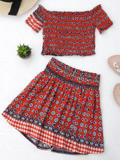 Tribal Print Crop Top And Skorts Set - Red Xl