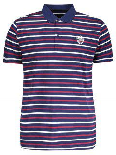 Stripe Polo Shirt - Purplish Blue 2xl