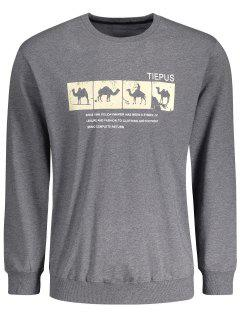 Crew Neck Camel Graphic Sweatshirt - Deep Gray Xl