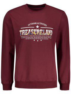 Treasureland Graphic Crew Neck Sweatshirt - Dark Red L
