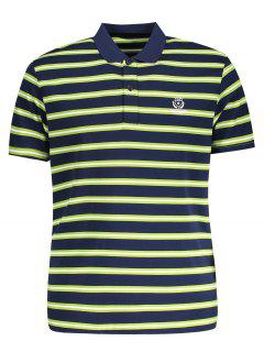 Striped Polo Shirt - Grass Green L