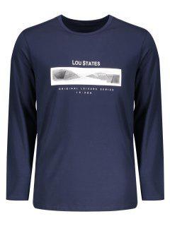 Lou States Graphic Long Sleeve T-shirt - Purplish Blue 2xl