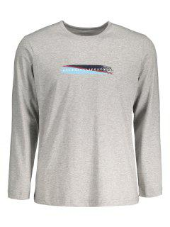 Graphic Marled Mens Long Sleeve T-shirt - Gray 2xl