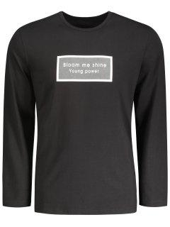 Letter Graphic Long Sleeve T-shirt - Black 2xl
