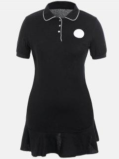 Plus Size Ruffle Polo Dress - Black 4xl