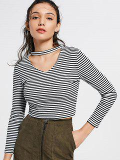 Keyhole Neck Striped Knitted Tee - Stripe M