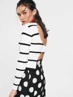 Open Back Striped Knitted Tee - Stripe L
