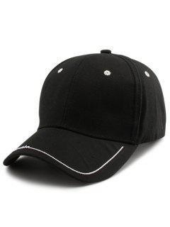 Line Letters Embellished Brim Baseball Hat - Black