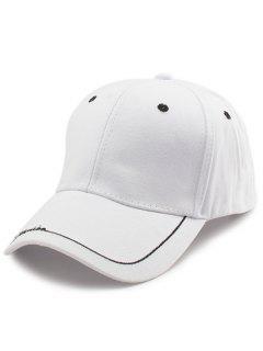 Line Letters Embellished Brim Baseball Hat - White